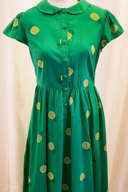 Vintage-Inspired Green Pineapple Dress