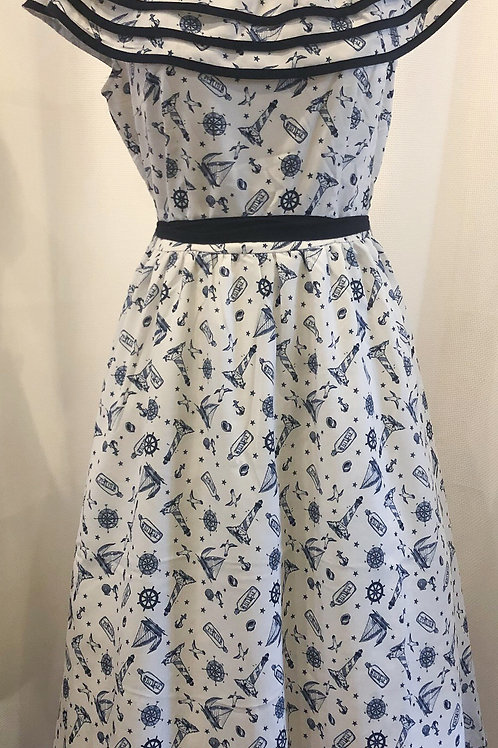 Vintage-Inspired White and Blue Voodoo Vixen Nautical Dress