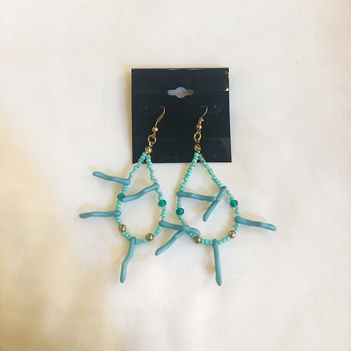 Vintage Blue Coral Teardrop Earrings