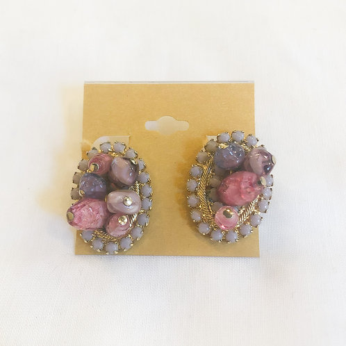 Vintage Pink and Purple Cluster Clip-On Earrings
