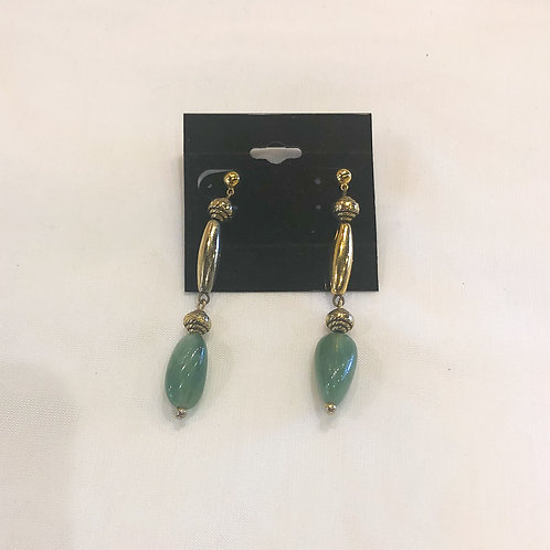 Vintage Green and Gold Dangle Earrings