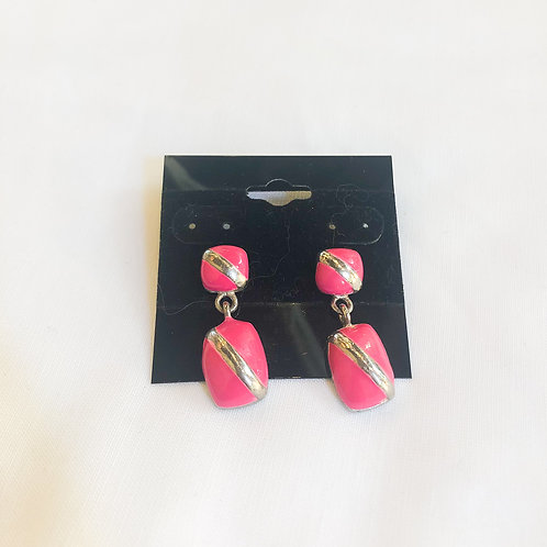 Vintage Pink and Gold Drop Earrings