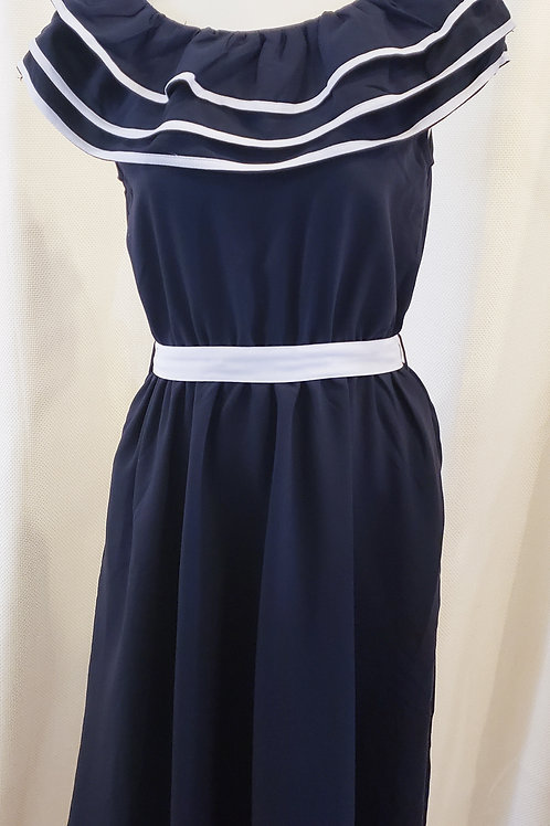 Vintage-Inspired Navy and White Dress