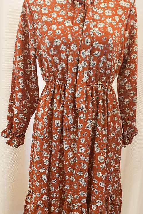 Vintage-Inspired Burnt Orange Floral Junior's Dress
