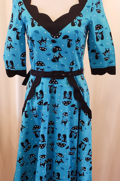 Vintage-Inspired Blue Cat Dress