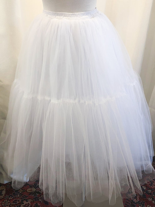 Vintage-Inspired White Layered Tulle Petticoat