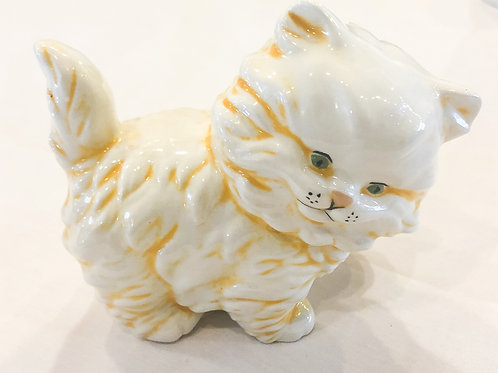 Vintage Orange and White Cat Figurine