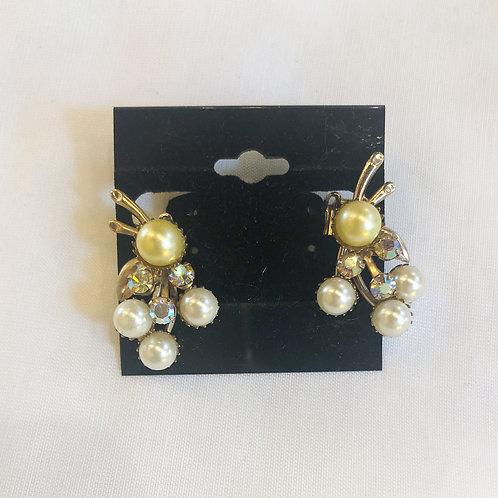 Vintage Pearl Cluster Clip-On Earrings