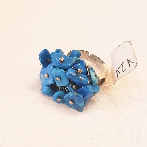 Vintage Blue Cluster Ring