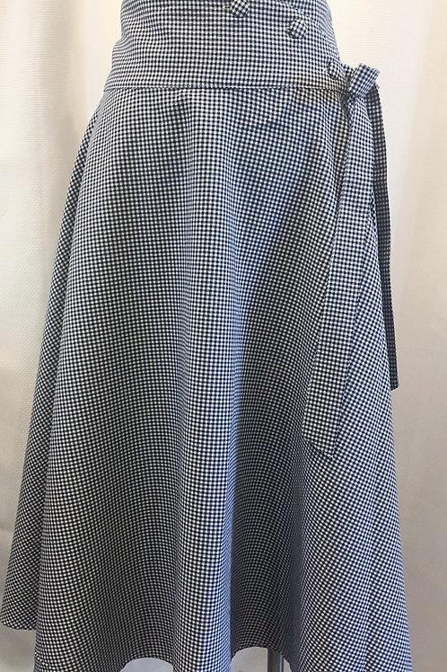 Vintage-Inspired Gingham Wrap Skirt