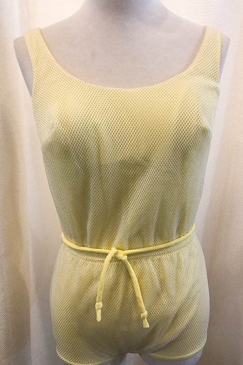 Vintage Yellow and White Mesh Winky Bathing Suit