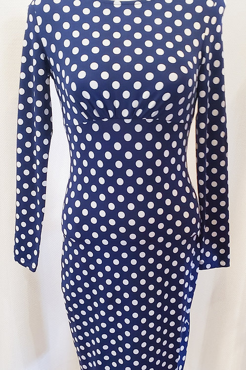 Vintage-Inspired Blue and White Polka Dot Dress