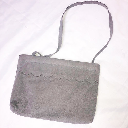 Gray Suede Purse with Floral Lining