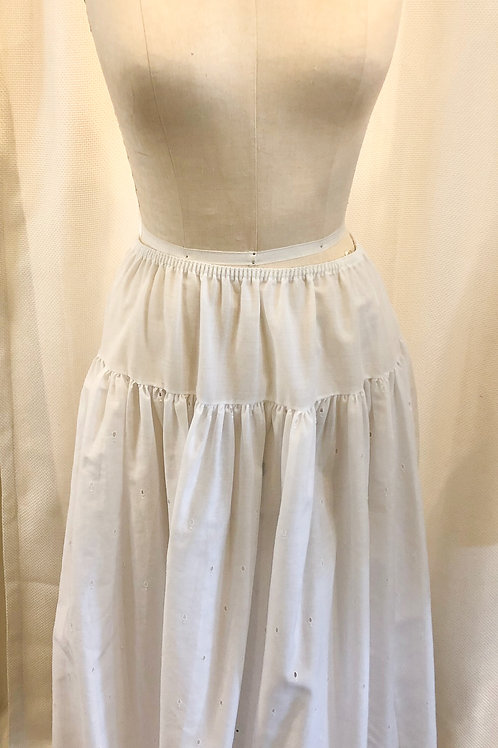 Vintage White Gathered Slip with Lace Trim