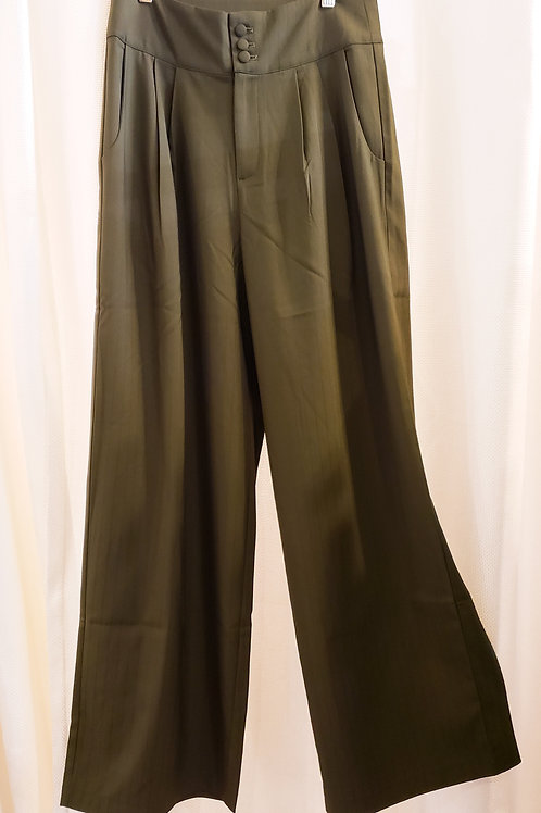 Vintage-Inspired Olive Green Pinstripe Pants