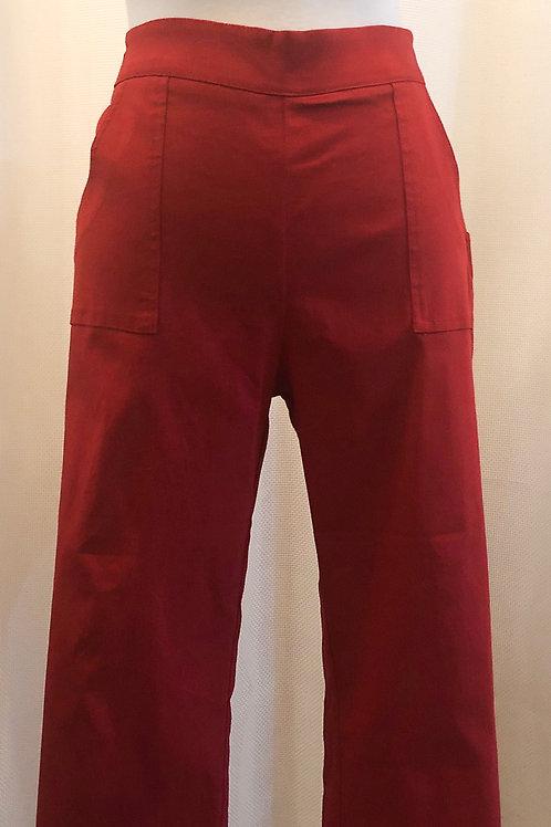 Vintage-Inspired Red Capri Pants
