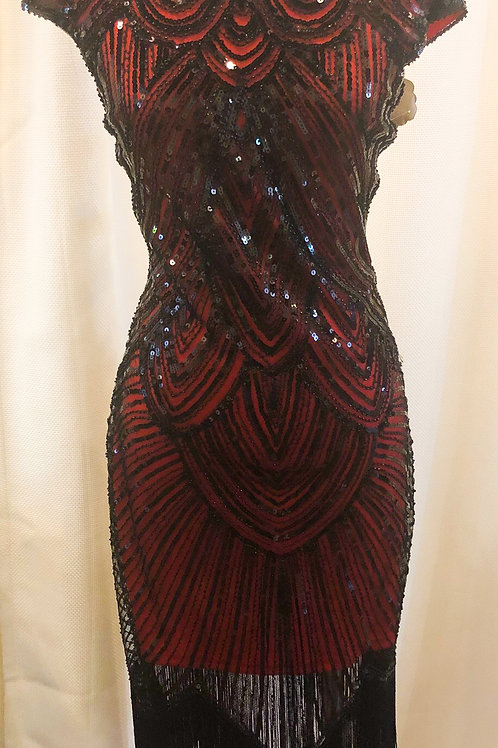 Vintage-Inspired Red and Black Sequin Cap Sleeve Dress