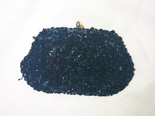 Vintage Small Black Beaded Purse
