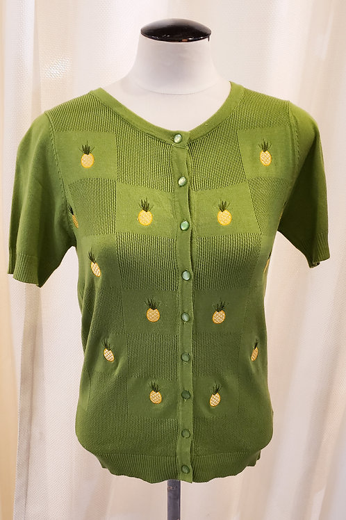 Vintage-Inspired Green Pineapple Sweater