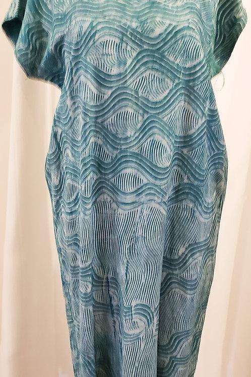 Vintage Teal Patterned Handmade Dress