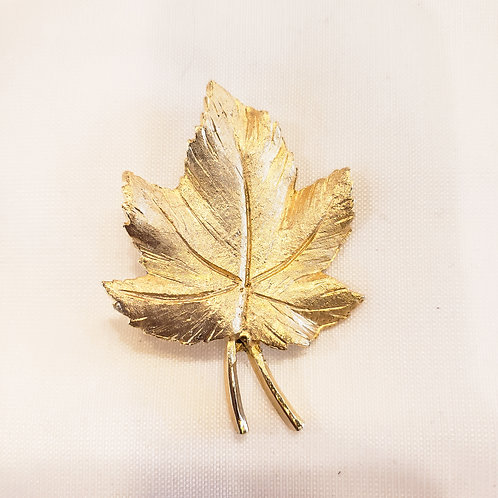 Vintage Gold Textured Leaf Brooch