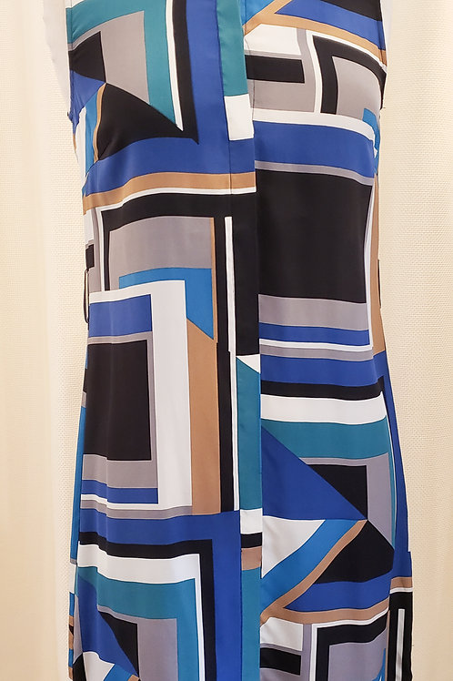 Vintage Blue Patterned Hobbs Sleeveless Dress