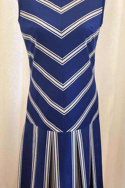 Vintage Blue and White Striped Handmade Dress