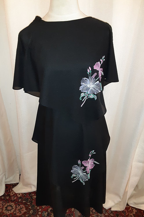 Vintage Black Dress with Floral Detail