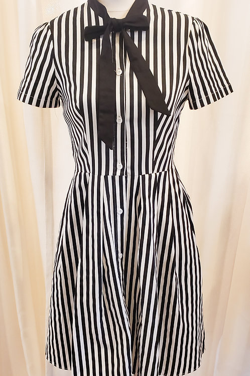 Vintage-Inspired Black and White Striped Dress