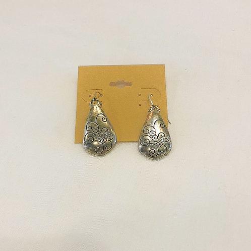 Vintage Silver Swirl Teardrop Earrings
