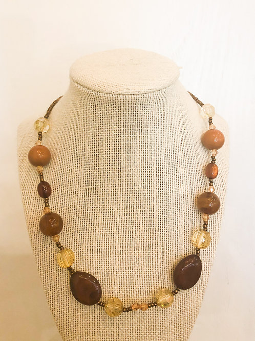 Vintage Brown and Amber Beaded Necklace