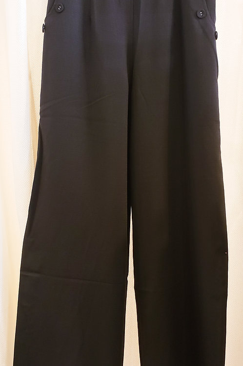 Vintage-Inspired Black Wide-Leg Trousers