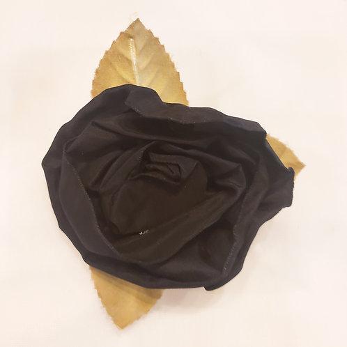 Vintage Black Rose Silk Brooch