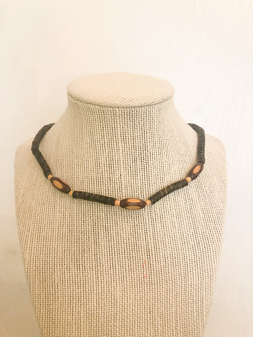Vintage Brown Beaded Choker