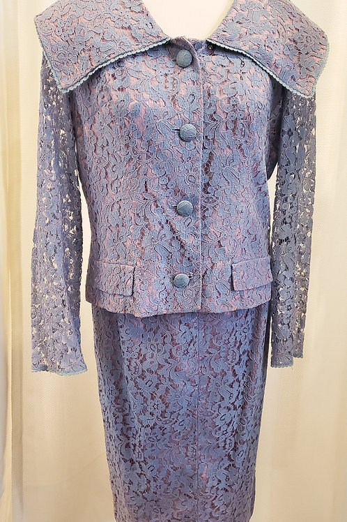 Vintage Two-Piece Carol Craig Lace Suit