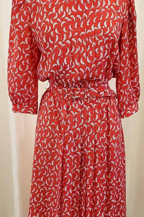 Vintage Red and White Feather Lisa II Dress