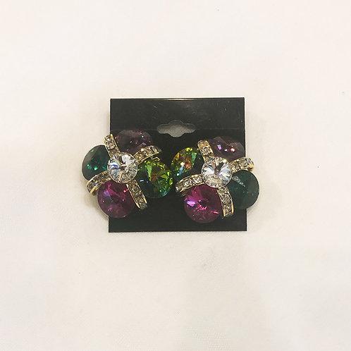 Vintage Multicolored Flower Clip-On Earrings