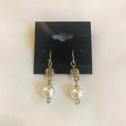 Vintage Gold and Pearl Drop Earrings