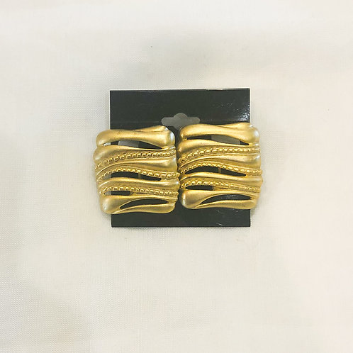 Vintage Gold Square Clip-On Earrings