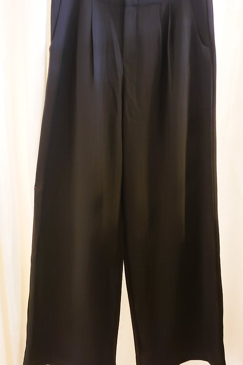 Vintage-Inspired Black Pinstripe Pants