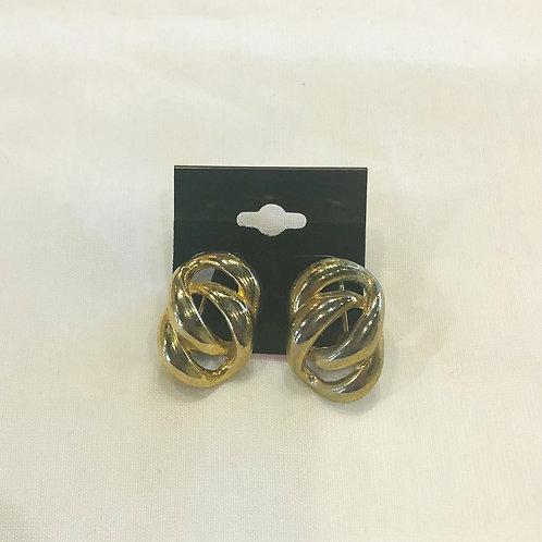 Vintage Gold Loop Clip-On Earrings