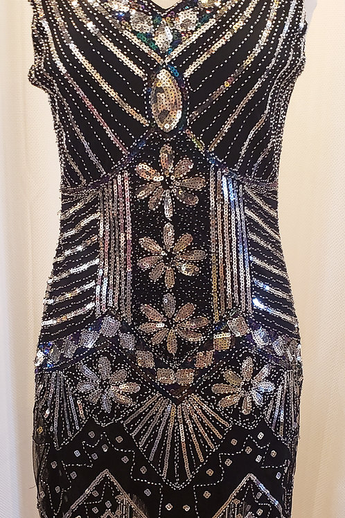 Vintage-Inspired Black and Silver Sequin Flower Dress