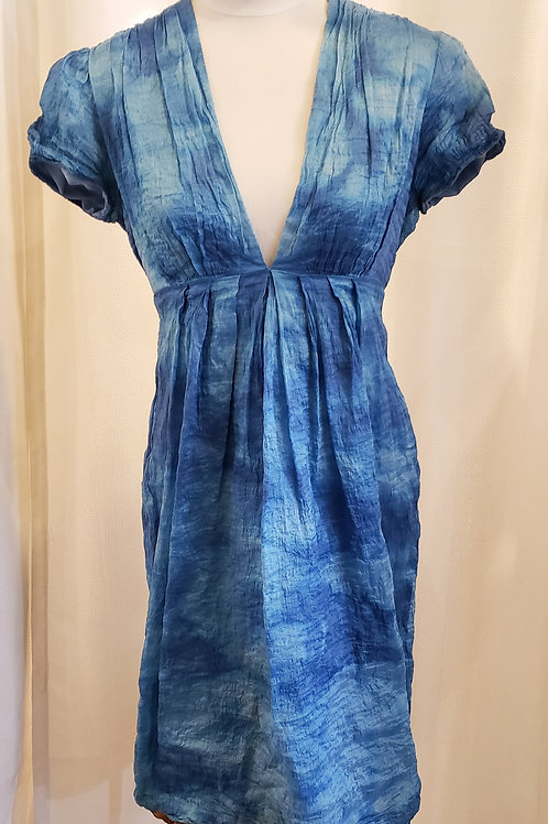 Vintage Blue Dress with V-Neckline
