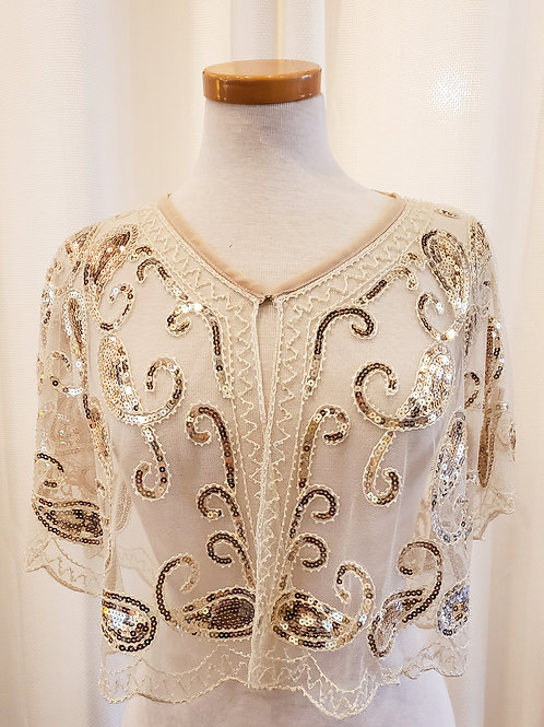 Vintage-Inspired White and Gold Sequin Wrap