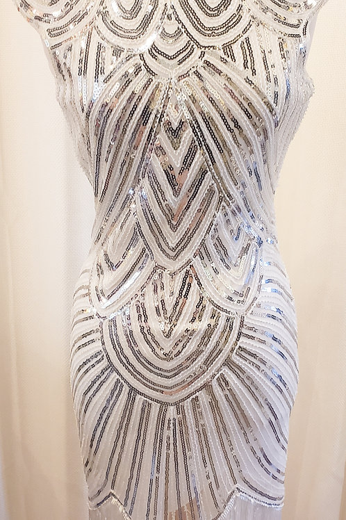 Vintage-Inspired White and Silver Sequin Dress