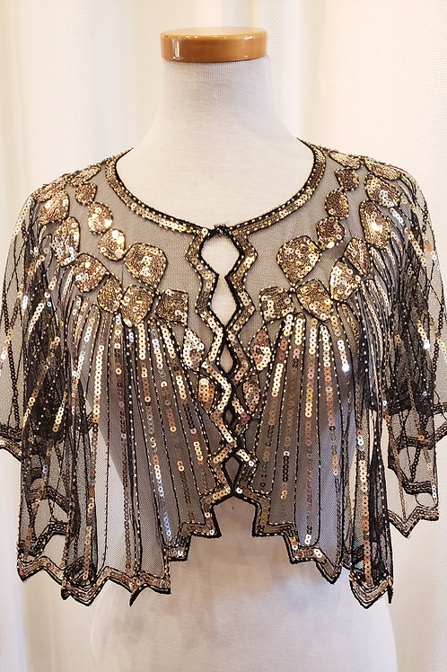 Vintage-Inspired Black and Gold Sequin Wrap