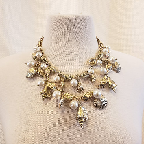 Vintage Seashell and Pearl Necklace