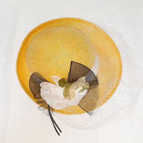 Vintage Yellow Hat with Flowers and Net Veil