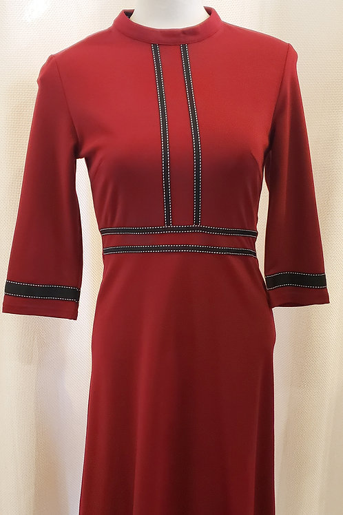 Vintage-Inspired Red Dress with Trim