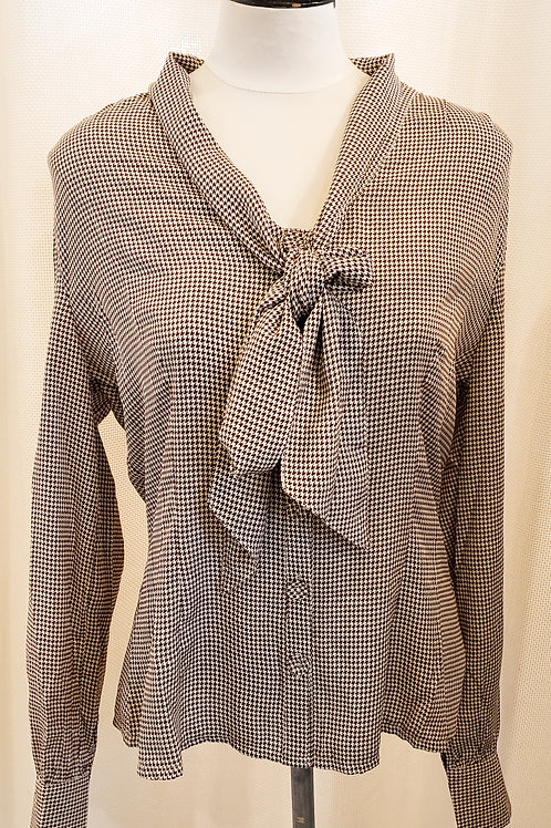 Vintage-Inspired Brown and White Houndstooth Blouse